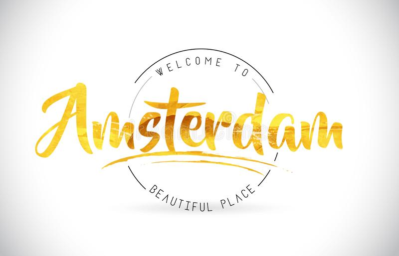 Amsterdam Welcome To Word Text with Handwritten Font and Golden. Texture Design Illustration Vector royalty free illustration