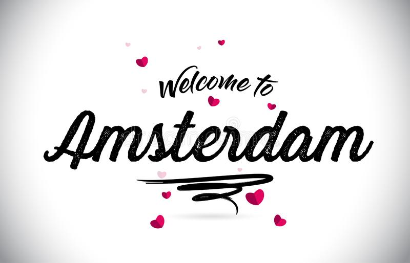 Amsterdam Welcome To Word Text with Handwritten Font and Pink Heart Shape Design. Vector Illustration vector illustration
