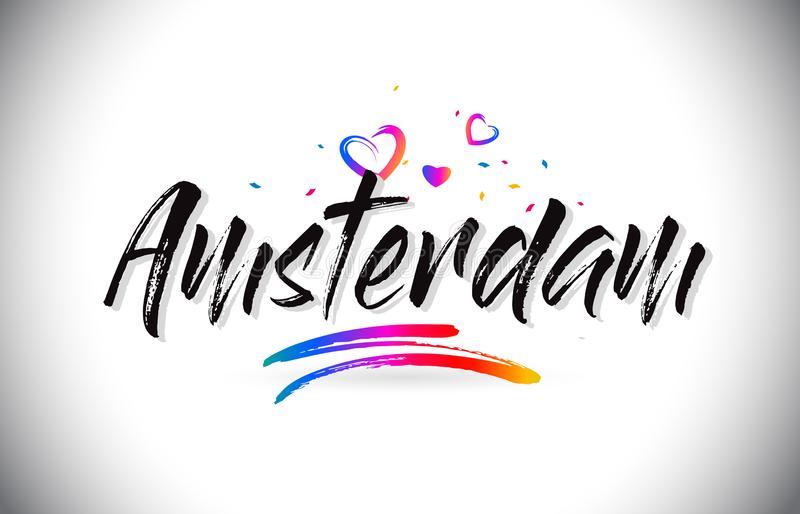 Amsterdam Welcome To Word Text with Love Hearts and Creative Handwritten Font Design Vector. Illustration royalty free illustration