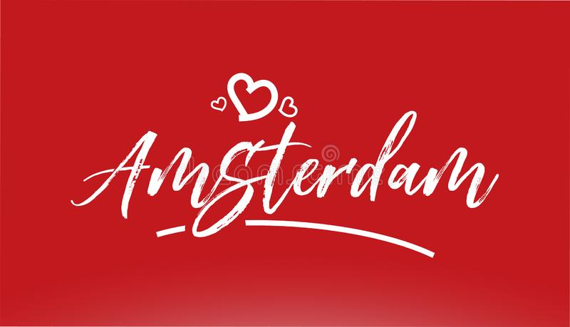 Amsterdam white city hand written text with heart logo on red background. Amsterdam white city hand written text with heart on red background for logo or royalty free illustration