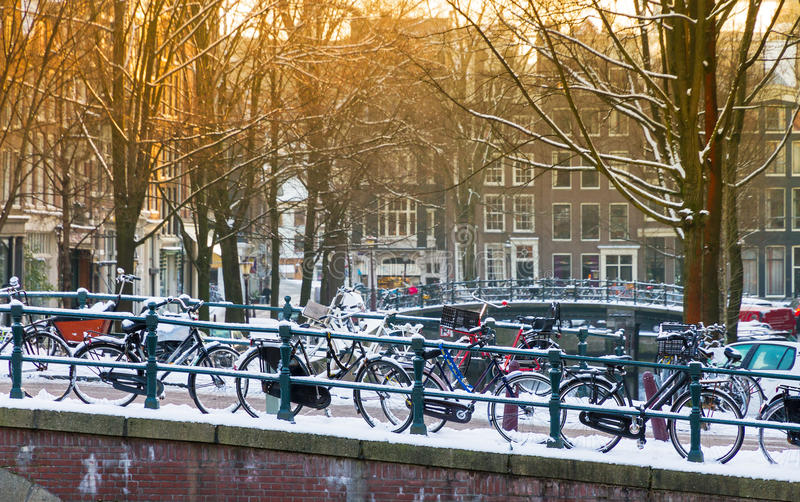 Amsterdam winter bridge royalty free stock image
