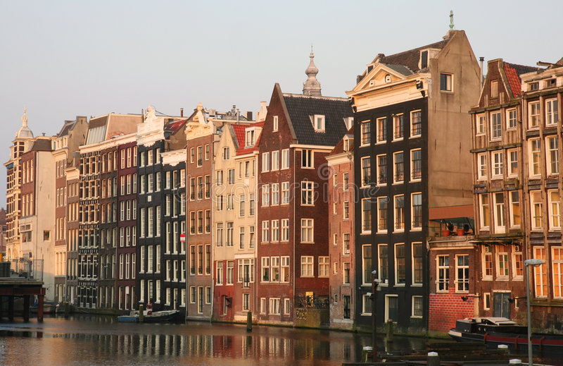 amsterdam, zachód słońca obrazy stock