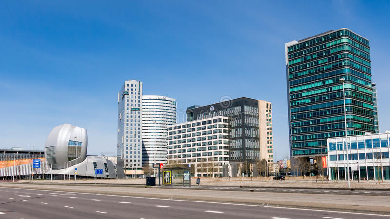 Amsterdam Zuidoost business district, Holland. Amsterdam business disctrict Zuid-Oost with office buildings Living Tomorrow, Alpha Tower, Oval Tower and Entree stock photo