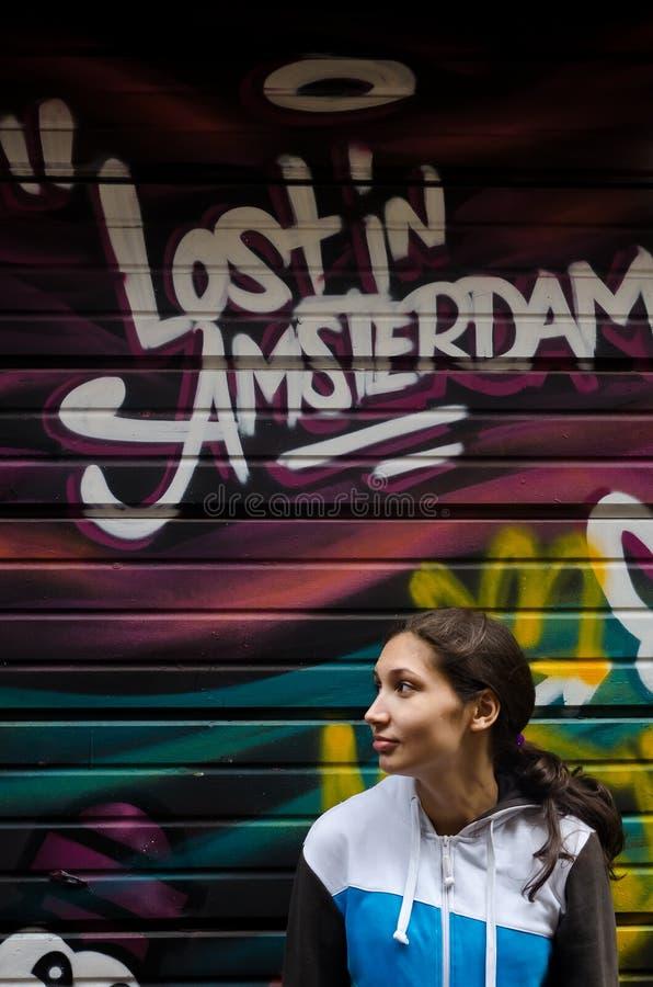 Amstrdam gatakonst, grafitti arkivfoto