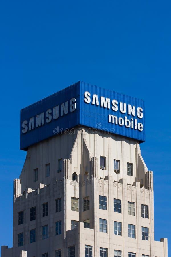 Amsung Aadvertisement mobile e logo immagini stock libere da diritti