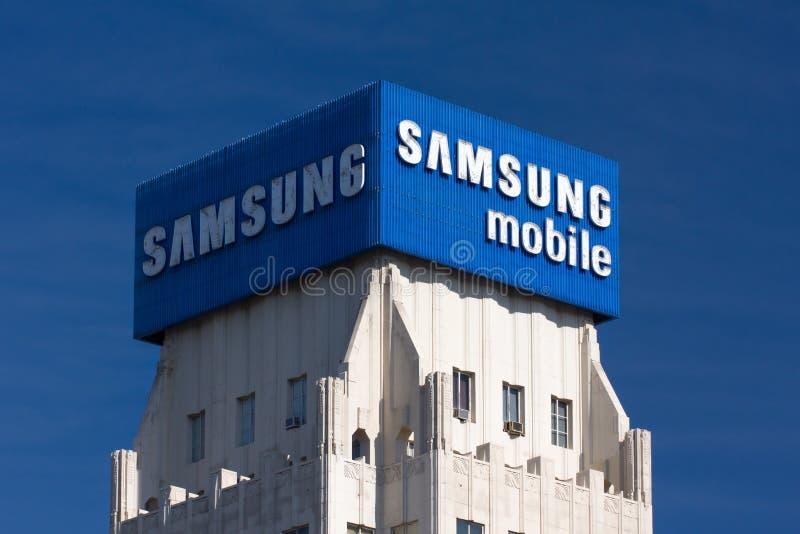 Amsung Aadvertisement mobile e logo fotografie stock