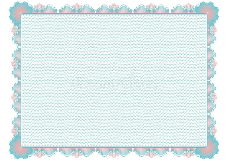 Amtliche Bescheinigung des blauen Guilloche Leeres Leerzeichen lizenzfreie abbildung