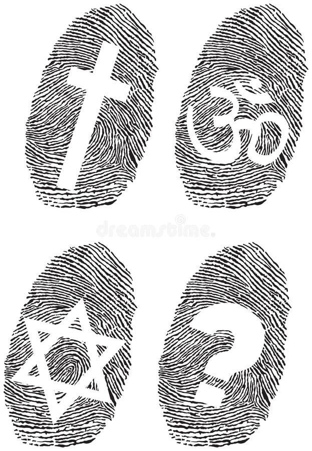 Amtliche Religion und Fingerabdruck lizenzfreie abbildung