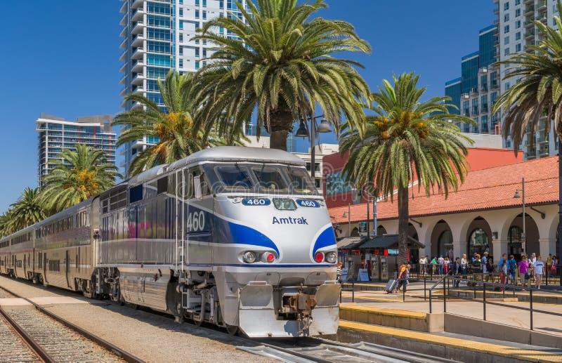 Amtrak Train Arrival at Santa Fe Depot royalty free stock image