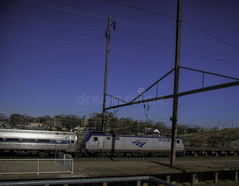 Amtrak Train Pulling into the Station at Lancaster, Pennsylvania stock photos