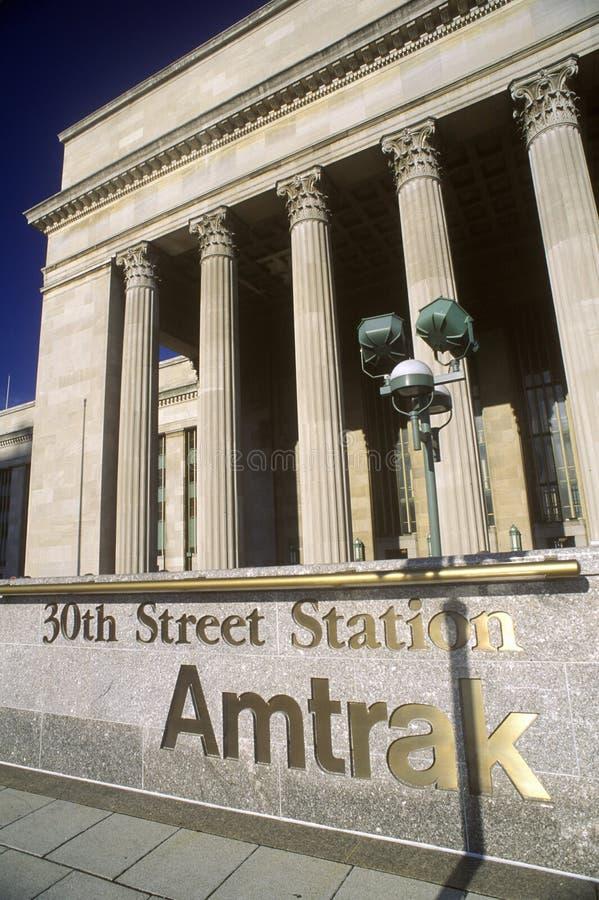 Amtrakpost op 30ste Straat, Philadelphia, PA stock afbeelding