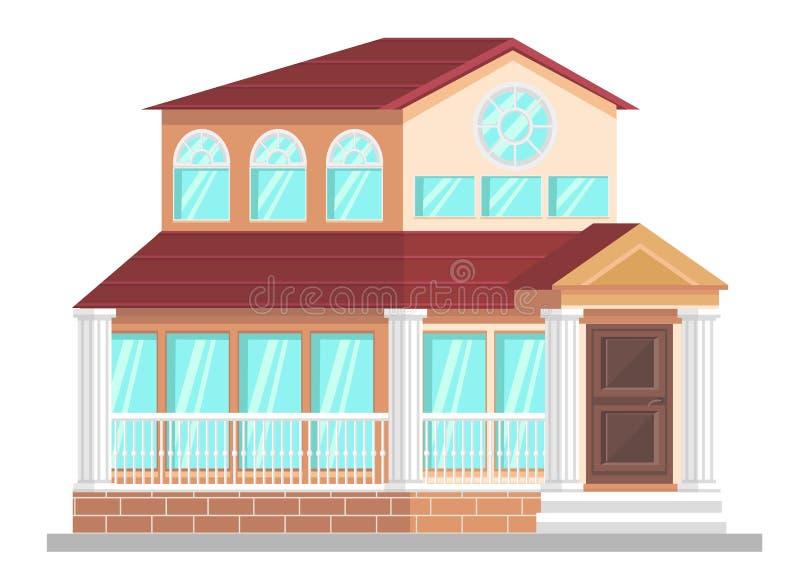 Amtsgeb?ude-Fassaden-flache Vektor-Illustration lizenzfreie abbildung