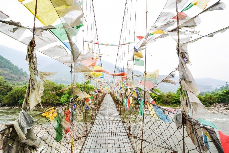 Amulet Fabric hanging on the bridge - Bhutan royalty free stock photos