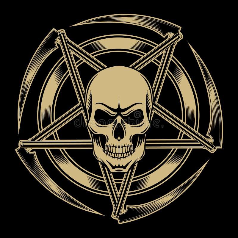 Amuleto del cráneo del Pentagram stock de ilustración