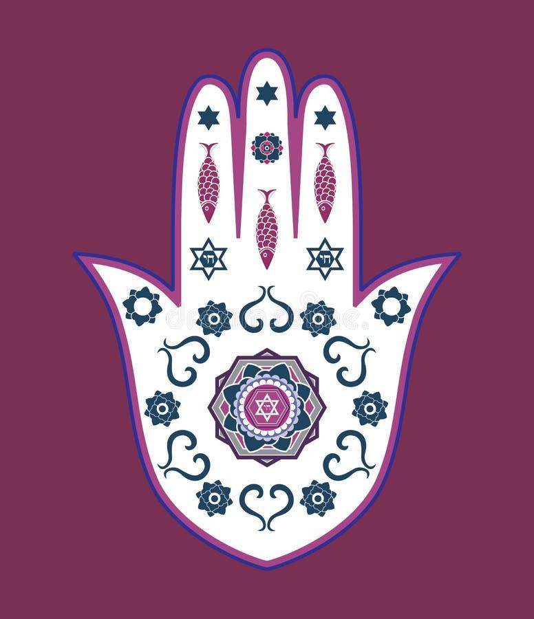 Amuleto ebreo della mano di hamsa - o mano di Miriam illustrazione di stock
