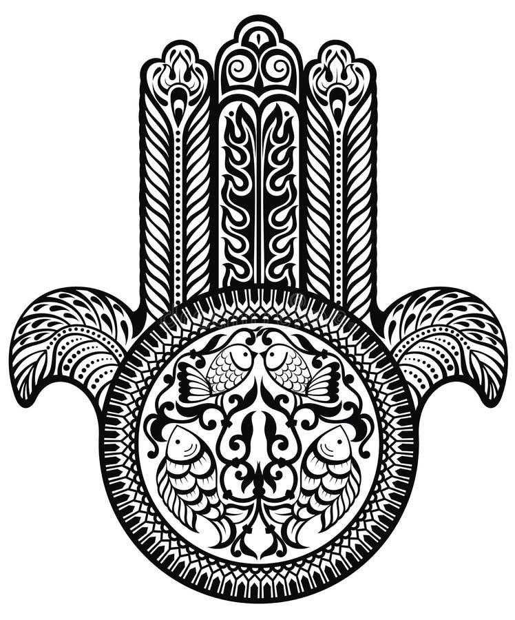 Amuleto sacro ebreo Hamsa royalty illustrazione gratis