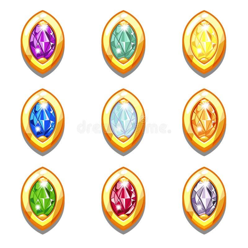 Amuletos de oro coloridos del vector con los diamantes ilustración del vector