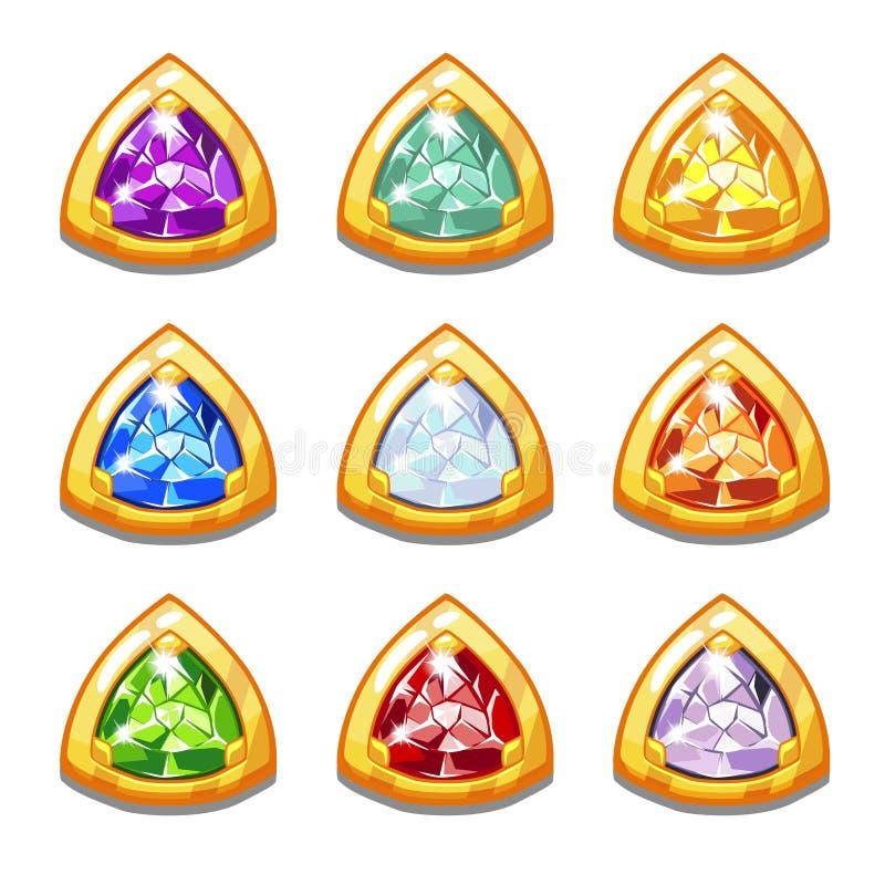 Amuletos de oro coloridos del vector con los diamantes stock de ilustración