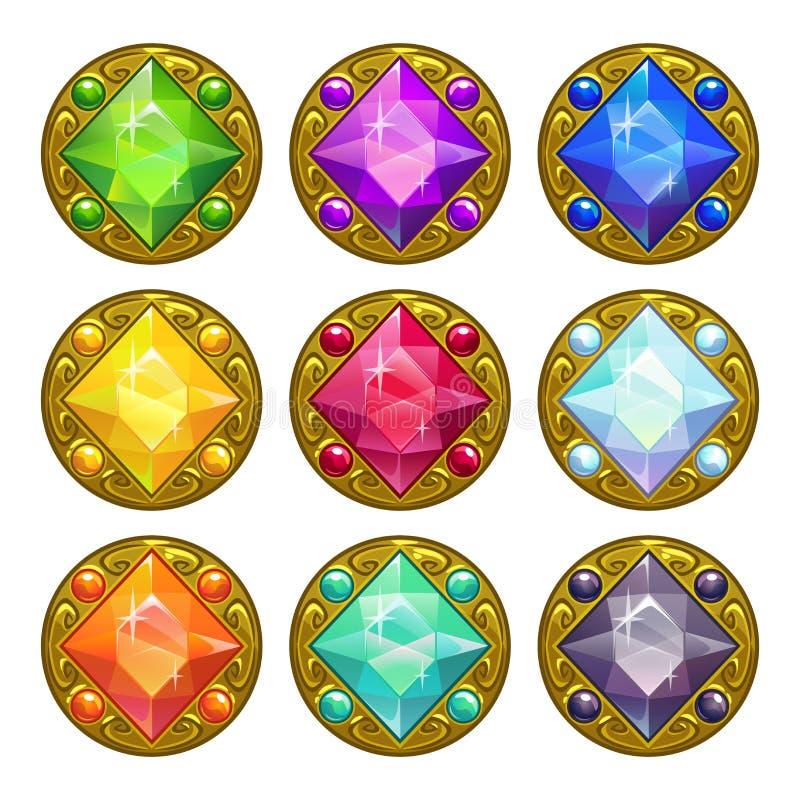 Amuletos de oro redondos coloridos del vector stock de ilustración