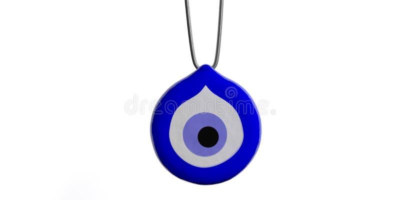 Amulett des bösen Blicks, Schutz, Ausschnitt, auf weißem Hintergrund Abbildung 3D stock abbildung