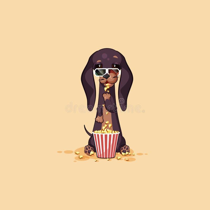 Amulett för hund för tecken för tecknad film för emoji för vektormaterielillustration, phylacteryhund, maskotpooch, bowwowtaxklis stock illustrationer