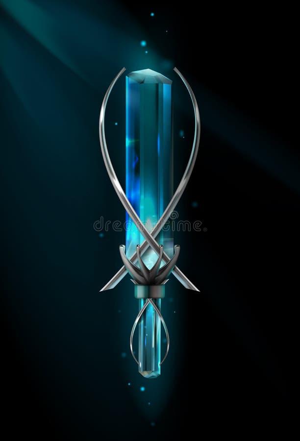 Amulette avec la pierre gemme illustration de vecteur