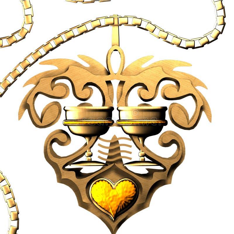Amulette d'or des cuvettes illustration de vecteur