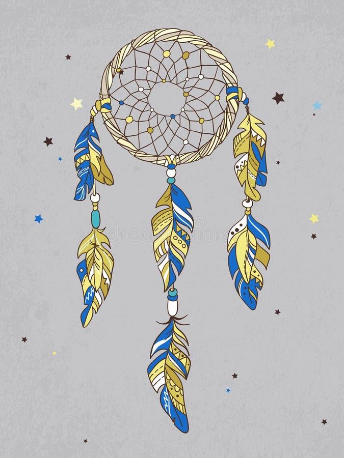 Amulette de Dreamcatcher de vecteur Illustration ethnique, tribal illustration de vecteur