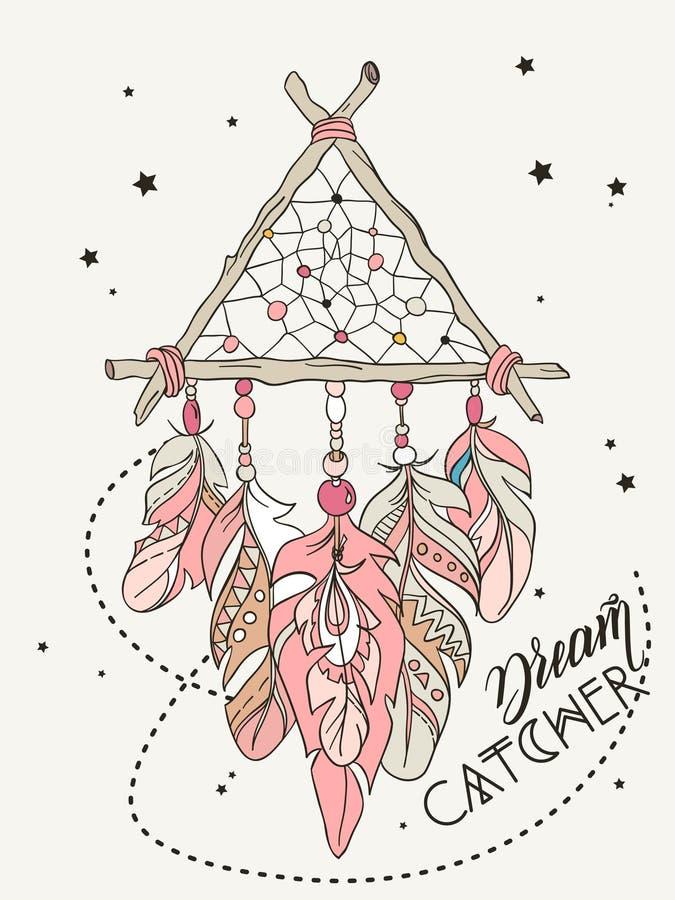 Amulette de Dreamcatcher de vecteur Illustration tribale ethnique illustration de vecteur