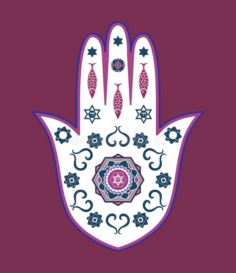 Amulette juive de main de hamsa - ou main de Miriam illustration stock