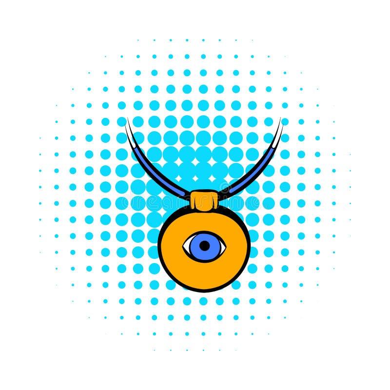 Amuletten mot symbolen för det onda ögat, komiker utformar stock illustrationer