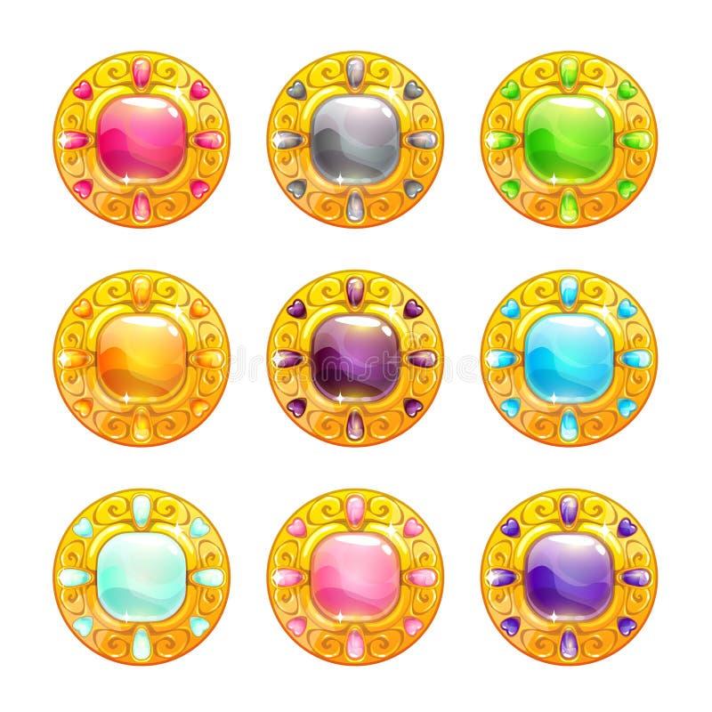 Amulettes d'or rondes brillantes colorées de vecteur illustration de vecteur
