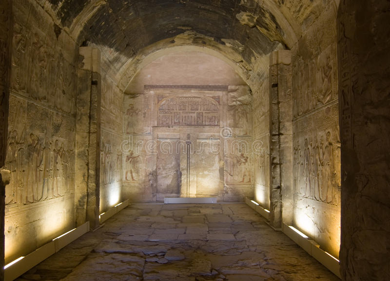 Amun Chapel, Temple of Abydos. The marvellously preserved Temple of Abydos. View of the chapel to the god Amun. Built for Pharoah Seti, the temple is dedicated royalty free stock photos
