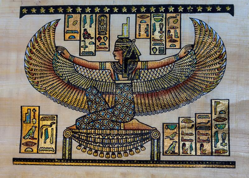 Amun. The God Of Thebes. Editorial. Syros: July 3rd. Photograph of a papyrus of Amun the patron god of Thebes the Egyptian diety with wings. Syros: July 3, 2018 royalty free stock image