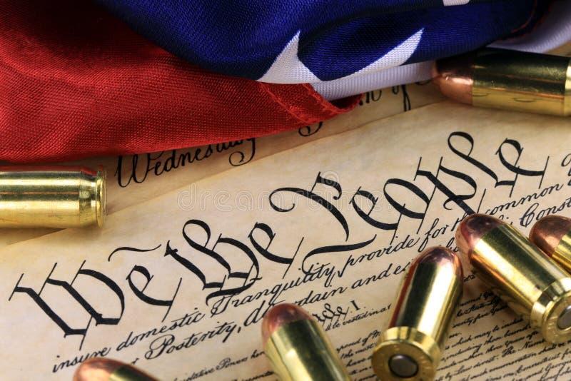 Amunicje i flaga na USA konstytuci - historia Drugi poprawka zdjęcie royalty free