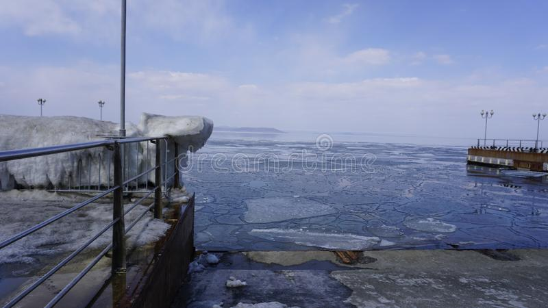 Amur Bay in spring. No 14. Vladivostok. Russia. stock photos