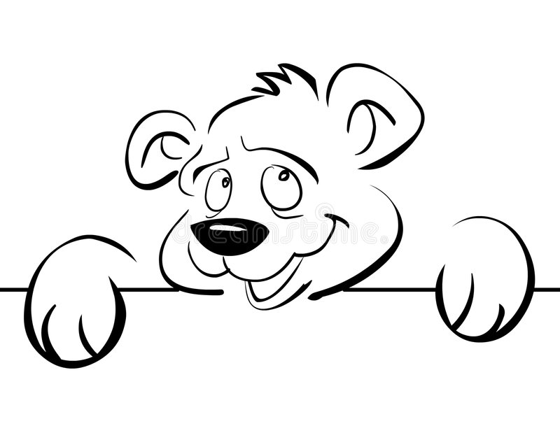 An amused bear. Leaning against a banner royalty free illustration