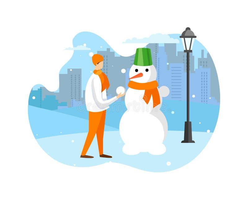 Amusement d'horaire d'hiver et activité d'extérieur pour des enfants illustration stock