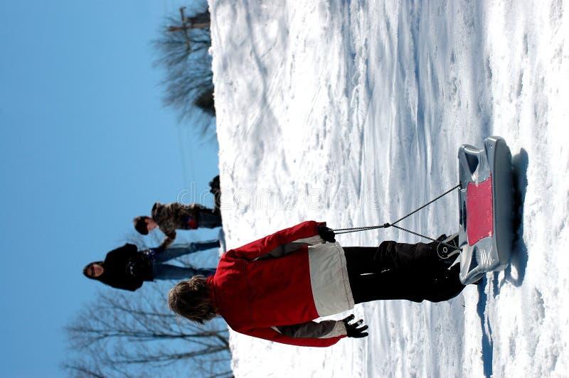 Amusement de famille de l'hiver image libre de droits