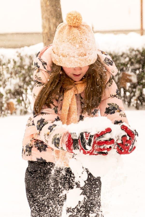 Amusement de l'hiver Jouant et appréciant la neige photo stock