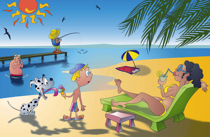 Amusement du soleil de mer illustration stock