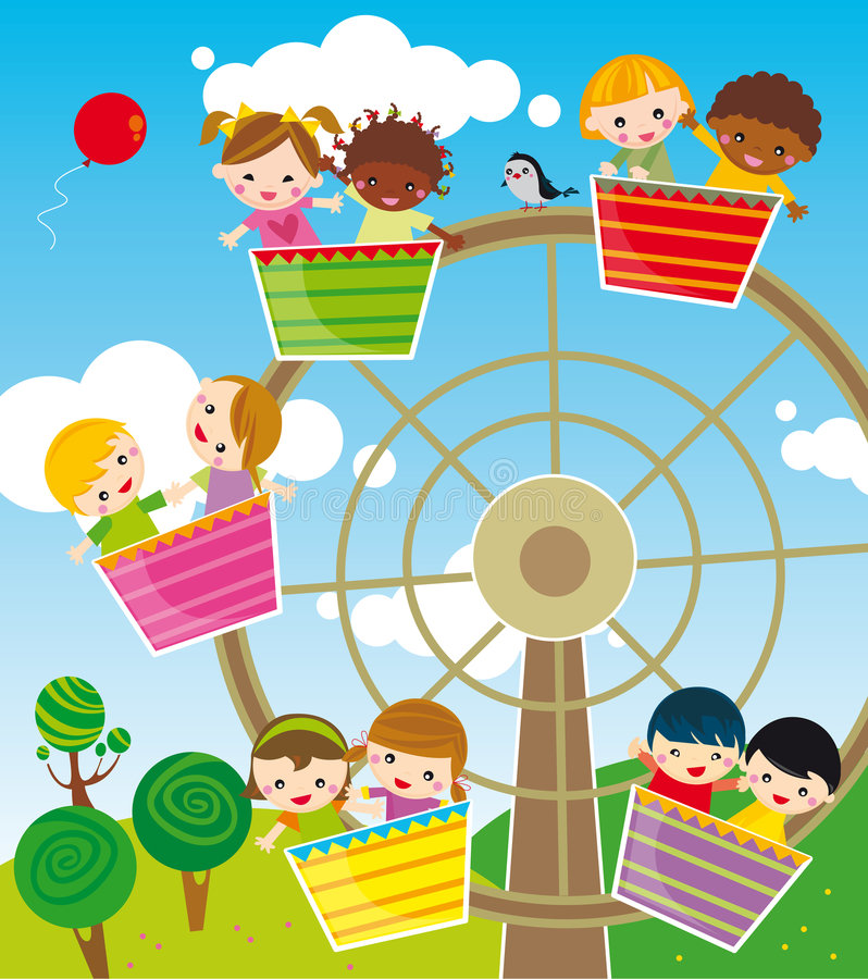 Amusement park. Illustration of children playing on amusement park