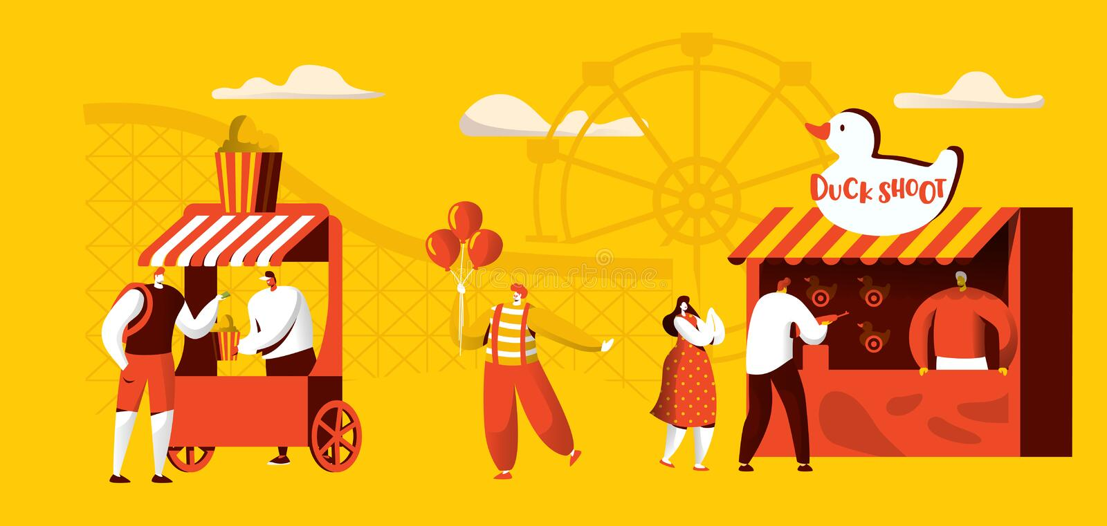 Amusement Park of Attractions Banner Template. Coaster rides, Circus Happy Clown Character with Balloon. Entertainment stock illustration