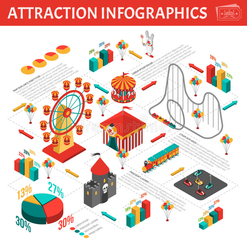 Free Amusement Park Attractions Infographic Isometric Composition Stock Images - 66193744
