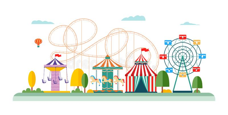 Amusement park attractions and rides vector flat illustrations isolated on white. stock illustration