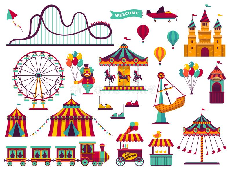 Amusement park attractions set. Carnival amuse kids carousels games fairground attraction play rollercoaster stock illustration