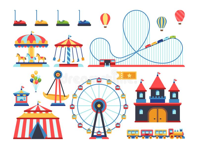 Amusement park attractions. Train, ferris wheel, carousel and roller coaster flat vector icons. Amusement and carousel, park with circus and festival stock illustration