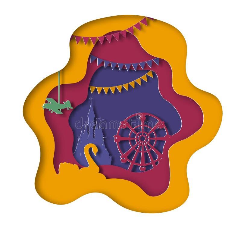 Paper art amusement park stock illustration