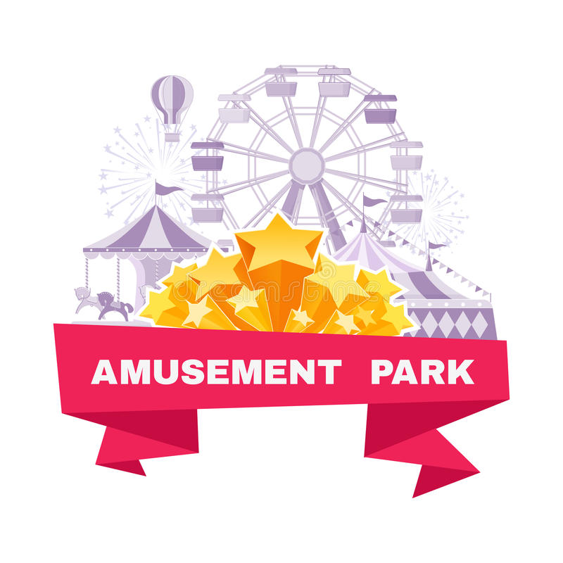 Amusement park banner with different carousels, swings and ferris wheel vector illustration