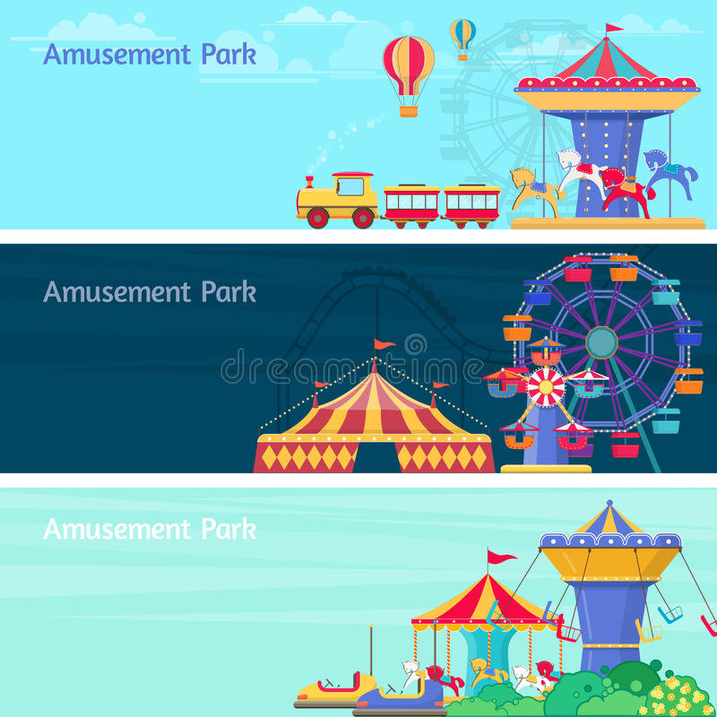 Amusement park banner set with different carousels and swings vector illustration